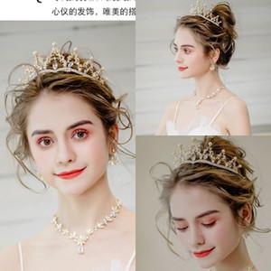 2020 Cristales de oro rosa brillante corona de la boda tiara nupcial perla de cuentas de joyería Rhinestones accesorios del pelo cristalinos nupciales