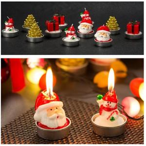 Vela de Navidad de Santa Claus muñeco de nieve del árbol de Navidad de velas de cera Feliz Año Nuevo Casa Decoración de la mesa Velas HH9-A2548