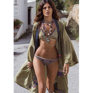 New Embroidery Beach Cover Up Cotton Beach Dress Long Sleeves Tunics Bikini Swimwear Cover Up Bathing Suits Cover-Ups Beachwear