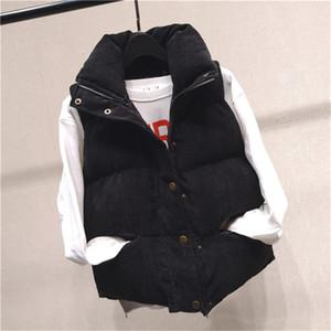 20fw Womens cotone Vest stand colletto senza maniche Womens Outerwear donna cappotti Button con cerniera e tasche