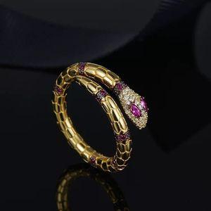 디자이너 SERPENTI 링 보석 925 스털링 실버 골드 다이아몬드 모양의 보석 개방 뱀 반지 여성 명품 약혼 반지 3 색 장미