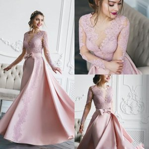 2019 Elegante Blush Pink Vestidos de novia Árabe Tren desmontable Sash Sash Vestidos de novia Vestido de boda de manga larga de playa robe de mariée