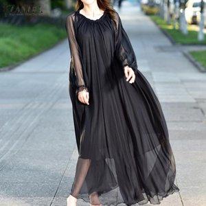 ZANZEA vestito lungo donne eleganti 2020 di modo della signora Puff Sleeve maxi Vestiti con cintura Beach Party Vestito estivo femminile Abiti Solid 5XL