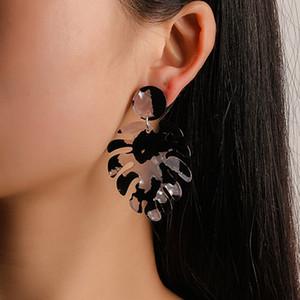 10pcs / Lot Hot vente Acetic Boucles d'oreilles acide multi couche colorée feuilles Dangle boucle d'oreille Femmes en alliage Charm Accessoires Bijoux oreille gros