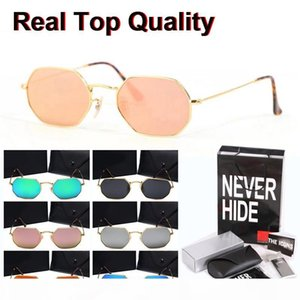 9 Colors classic Octagonal sunglasses men women Brand Designer mirror uv400 glass lens with original box, packages, accessories, everything!