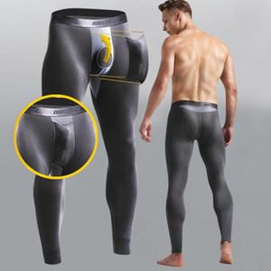 Winter pijama hombre Men Sexy Underwear Underpants Long Thermal Pants Separation Slim Stretch Pajamas Men Sleepwear o16