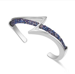 Visión de la moda Brazaletes de moda con imitación Rodio plateado pulsera de brazalete inoxidable de cuerda de cristal completa modelo no. NE957-1