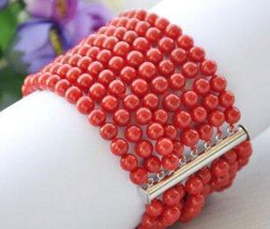 """Real 8row 7.5 """"6 MM rodada coral vermelho talão pulseira ímã whosale jóias genuínas"""