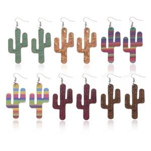 Personnalisable Double côté Cactus Faux Boucles d'oreilles en cuir pour femmes arc-en-Imprimer Pendentif Boucles d'oreilles Déclaration Lightweight Bijoux Drop Shipping