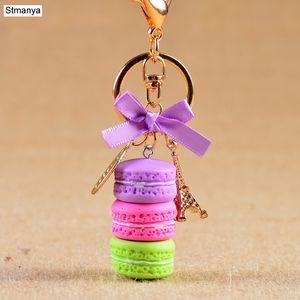 Women Cake Key Chain Fashion Cute French pastries Keychain Bag Charm Car Key Ring Wedding Party gift Jewelry