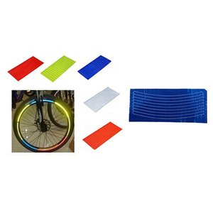 HOT-2x Bicycle Reflector Fluorescent MTB Bike Bicycle Sticker Cycling Wheel Rim Reflective Stickers Decal Accessories Orange & B