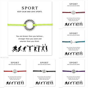 Novos Esportes envoltório desejo pulseira com cartão de Presente de hóquei de futebol de ginástica vôlei de beisebol basquete charme pulseira Para As Mulheres Homens Jóias
