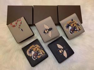 선물 상자 높은 품질의 남성 동물 짧은 지갑 가죽 검은 뱀 타이거 꿀벌 지갑 여성 긴 스타일 지갑 지갑 카드 홀더