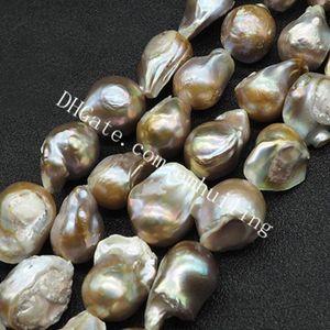 1 Completa Vertente 20-25mm Grande Nucleado Metálico Natural Barroco Pérolas Beads Genuine Irregular de Água Doce Pérola Gemstone Solta Pérolas 16-18 Pcs