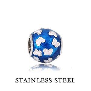 Blau Spherical-Form-Charme mit Schmetterling Edelstahl-Schmuck-Zusätze für Frau Art und Weise passendes Armband Halskette