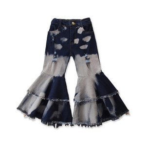 Baby Girls Blare Pantaloni Doppio Ruffle Tassel Denim Pantaloni Bambini Abbigliamento Casual Girls Girls Elastico Pantaloni da tasca Pantaloni da tasca Boot cut Jeans 060526