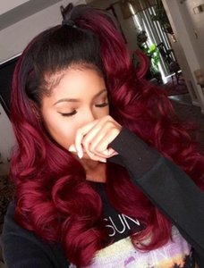 Swiss Lace Front Lace Wig Peruvian Virgin Human Hair Black Root Two Tone Ombre Burgundy 1B 99J Full Lace Wig For Black Woman