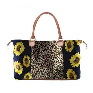 5 style Fashion Leopard Print Sunflower handbag Duffel Bag Waterproof canvas bag Sunflower large capacity travel bag Wholesale BJJ279