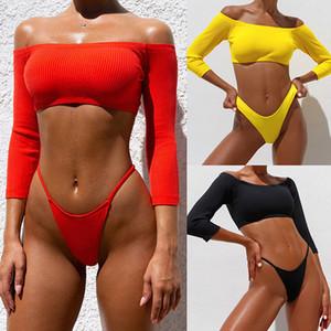 Europa e in America esplosione della spalla di stile Pit strisce del bikini sexy del costume da bagno Word manicotto 2019 del costume da bagno 76296