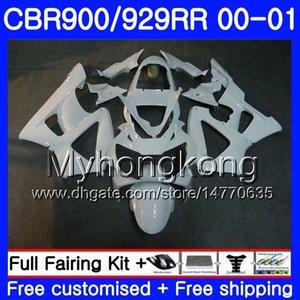 Corpo Para HONDA CBR900 RR CBR 929 CBR RRR 900RR CBR929RR 00 01 279HM.21 CBR 929RR CBR900RR Branco brilhante quente CBR929 RR 2000 2001 Kit de carenagens