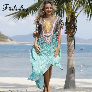 Fitshinling Leopard Print Oversize Maxi Dresses Women Holiday Bohemian Summer Beach Long Dress Side Split Kaftan Loose Pareos
