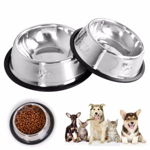 New Dog Cat Bowl Stainless Steel Feeding Water Bowl Footprint Stainless Steel Non-slip Pet Food Bowl Pet Supplies