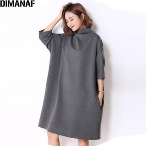 DIMANAF Automne Plus Size Women Dress Casual Solid Turtleneck vrac Batwing Femme Tendance gris élégant Robes Fit 5XL