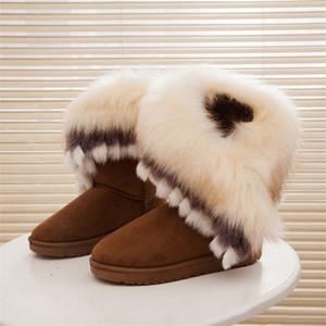 2018 Женские снежные ботильоны Женские меховые зимние ботинки Теплые ботинки Австралии Модная обувь Botas