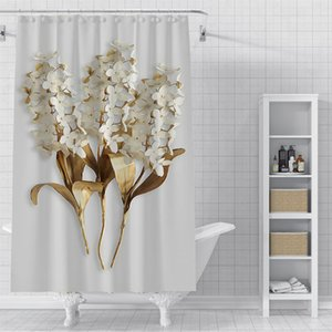 Custom Small leaves Waterproof Shower Bath Curtain Printed Bathroom Decor Various Sizes#2020-06-04-21