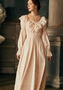 Sexy Long Dress Gowns Cotton Nightgown Wedding Nightdress long-sleeved Sleepwear Ladies Queen Dress Nightgowns