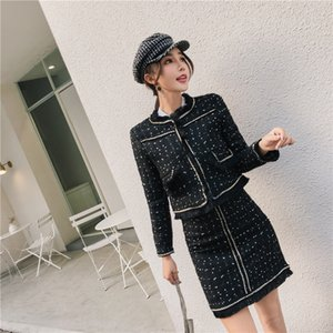 Spring Autumn Female woolen coat and skirts set Fashion Women's  Tweed Sets Ladies Tassel Jacket tops skirts 2 piece sets