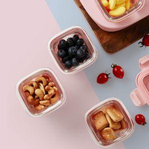Infant Kalar 24pcs Set Baby Food Container Silicone Vidro Louça almoço da fruta Caixa de armazenamento de mijiayoupin - 4pcs rosa
