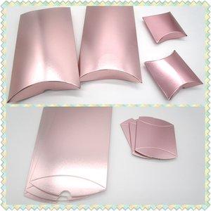 Rose Gold Kağıt Yastık Şeker Kutuları Düğün Favor Kağıt Kutu DIY Hediye Şeker Paketi Kutular