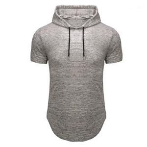 Casuali dimagriscono Fashion Fitness maglietta estate Fit manica corta Tees Homme Designer Top uomo con cappuccio Tempo libero