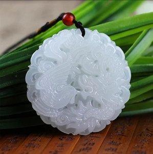 Blanco natural del Dragón de Jade y colgante de jade pendiente de Phoenix Afganistán collar de los hombres y mujeres del zodiaco
