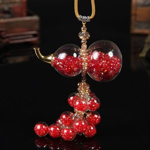 Car Pendant Crystal Hanging Gourd Auto Rearview Mirror Interior Decoration Colored Rhinestones Hoist Ornaments Car Accessories