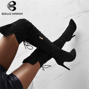 BONJOMARISA Yeni INS Knee Şövalye Boots Lady Uyluk Yüksek Boots Kadınlar 2019 Parti Yüksek Topuklar Ayakkabı Kadın Üzeri 35-47 Seksi bağcıklı