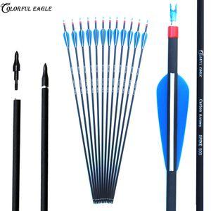 Tiro con l'arco all'aperto Carbon Frecce 28/30/30-Inch OD7.6mm Spine 500 Albero con sostituibile testa della freccia per Ricurvo Compound Bow Arrow Caccia