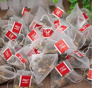 3000pcs / lot Pyramid Teebeutel Filter Nylon Teebeutel Einzelsaite mit Label-Transparent Leeren Teebeutel