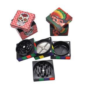 Новый стиль Отличительная куб Херб шлифмашины 4 слоя 50MM алюминиевого сплава Grinder Magic Cube Tobacco Травяные Grinder Fit сухой травы Миллер