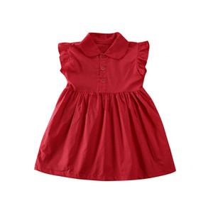 2020 Yaz Çocuk Kız Günlük Elbiseler Çocuk Moda Pamuk Kolsuz Yaka Düğme Tasarım Mini Elbise Giyim 1-6 yaşında