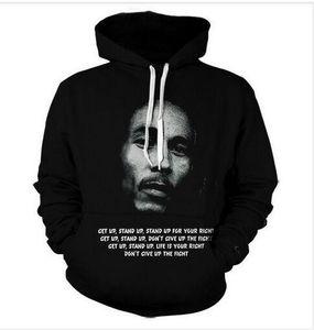 Yeni Moda Harajuku Tarzı Rahat 3D Baskı Hoodies Bob Marley Erkekler / Kadınlar Sonbahar ve Kış Kazak Hoodies BC082