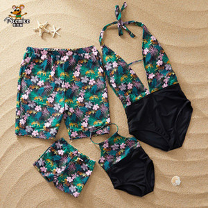 2020 Family Matching Swimsuit Mother Daughter Swimwear Mommy And Me Clothes Floral Mom Daughter Father Son Bathing Suit