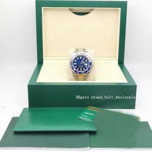 Lojista recomendar Auto 40 milímetros de luxo Sub Femininos Box / Certificado Azul Dial Aço Inoxidável YG azul Bezel Assista 116613lb relógio automático Homens