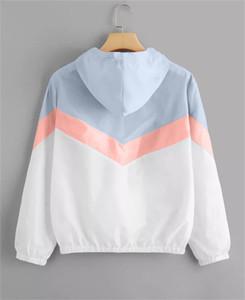 Manga del remiendo del diseñador de las mujeres chaquetas tricolores larga con capucha chaquetas de otoño del resorte de las mujeres abrigos