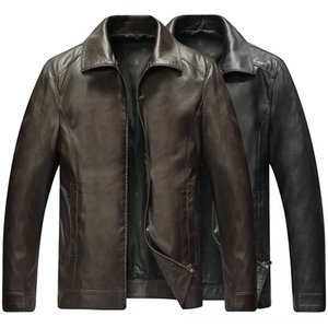 Middleaged Men Folddown Collar Leather Coat Men's Outerwear & Coats Men's Clothing Jacket Men 2019 Spring And Autumn New Style Casual Leathe