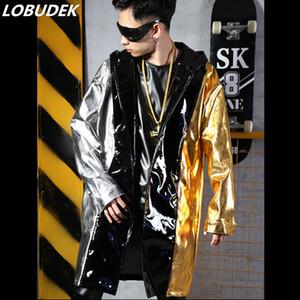 PU-Leder-Mantel Hoodie Windjacke Splicing Farben Long Long Mantel Mode Tide Male Singer DJ Hip Hop Street Dance Kostüm