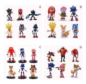 6pcs / set juego de Sonic the Hedgehog colas Knuckles Sombra de la figura de juguete modelo de Hedgehog Super Sonic PVC