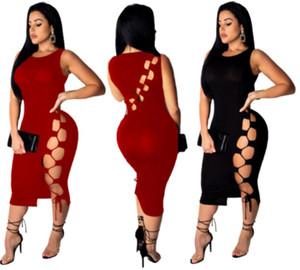 Womens Designer Kleid Midi Rock ärmellos sexy einteilige Kleider Casual aushöhlen sexy Kleider bequeme weibliche Kleidung klw1083