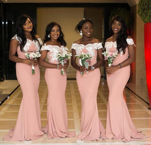 Elegant Pink Bridesmaid Dresses Off Shoulder African Mermaid Lace Applique Floor Length Maid Of Honor Gowns Nigerian Wedding Party Dresses